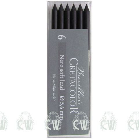 Pack of 6 Cretacolor Artists Nero Soft 5.6mm Clutch Pencil Leads