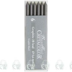 Pack of 6 Cretacolor Artists 2B 5.6mm Clutch Pencil Leads