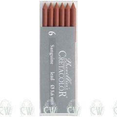 Pack of 6 Cretacolor Artists Sanguine Dry 5.6mm Clutch Pencil Leads