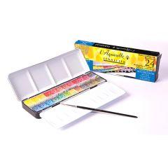 Sennelier Artists Watercolour Classic 24 Half Pan Metal Box Set Box