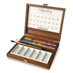 Sennelier 24 Luxury Half Pan Watercolour Wooden Box Set