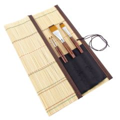 Artists Bamboo Brush Roll Holder Short (27.5cm x 27.5cm)