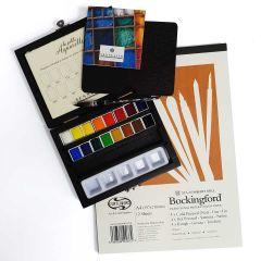 Sennelier Watercolour Wooden Box Set of 16 Half Pans & Curtisward Bockingford Mix Pad A4