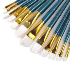 Royal & Langnickel Set of 12 White Taklon Artists Brushes.