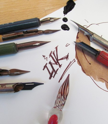 Sepia Drawing ink and a collection of Vintage Nibs