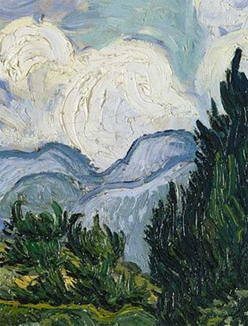 Detail from A Wheatfield with Cypresses by Vincent Van Gogh