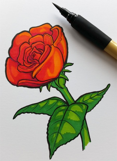 Kuretake Bimoji Brush Pen and Kurecolor on Botanical Ultra Smooth Paper