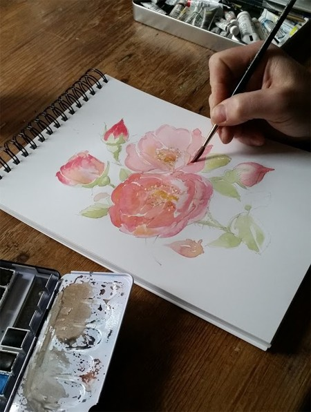 Peter painting a loose botanical watercolour on Botanical Ultra Smooth Paper