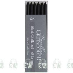 Pack of 6 Cretacolor Artists Black Chalk 5.6mm Clutch Pencil Leads