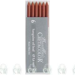 Pack of 6 Cretacolor Artists Sanguine Oil 5.6mm Clutch Pencil Leads