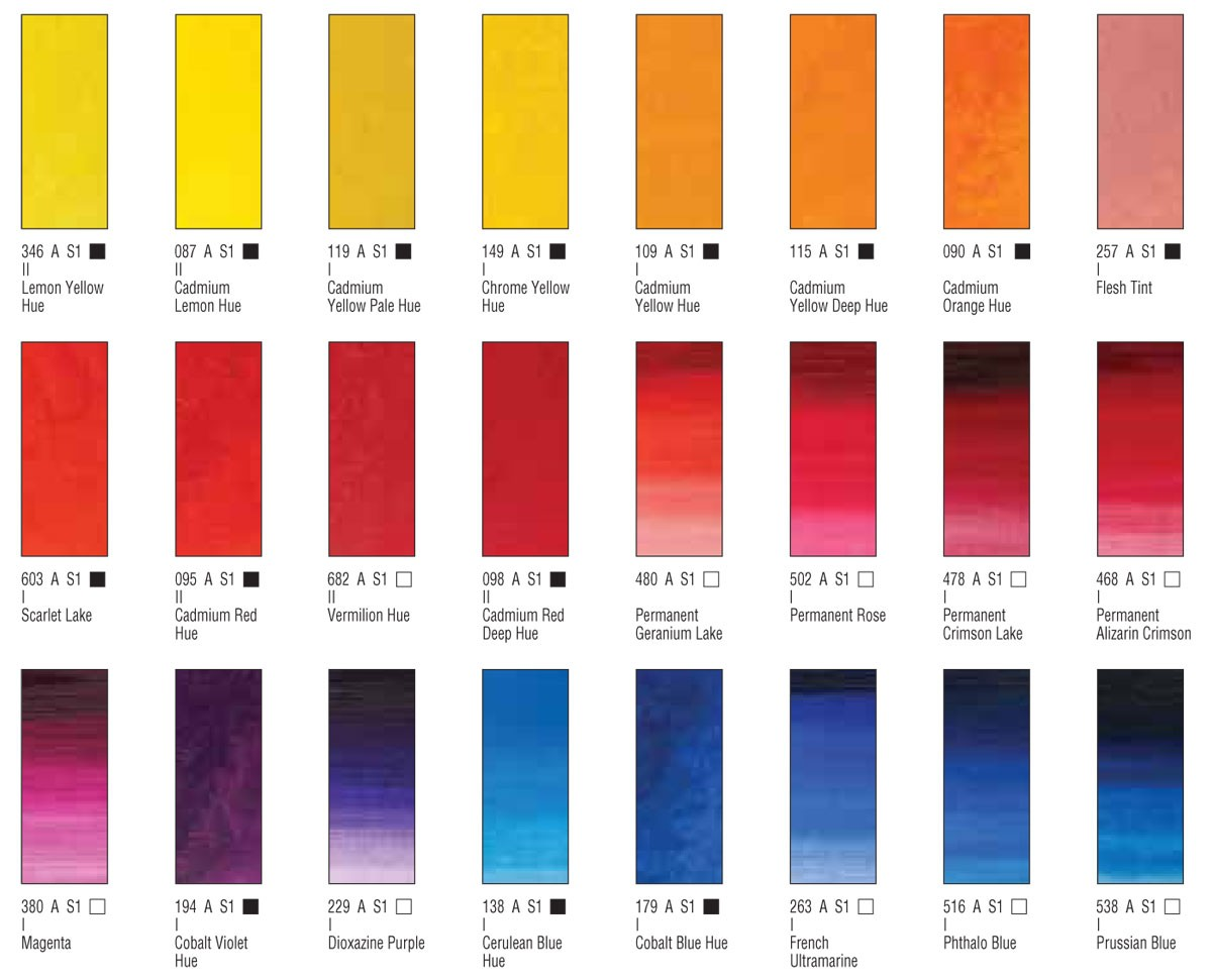 Winsor and Newton Winton Oil Paint Colour Chart